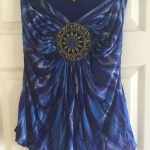 Sky royal blue strapless ikat top